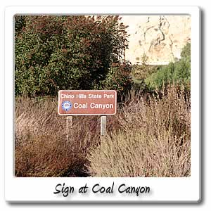 Sign at Coal Canyon on the Bicycle Trail