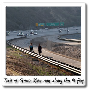 Bicycle Trail at Green River runs along the 91 Freeway